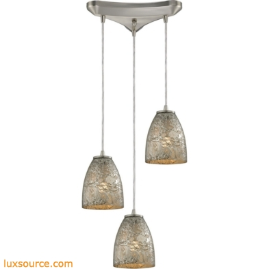 Fissure 3 Light Pendant In Satin Nickel And Silver Glass 10465/3SVF