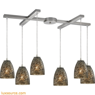 Fissure 6 Light Pendant In Satin Nickel And Smoke Glass 10465/6BRF