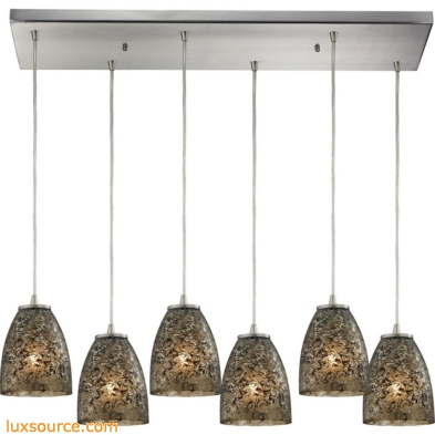 Fissure 6 Light Pendant In Satin Nickel And Smoke Glass 10465/6RC-BRF