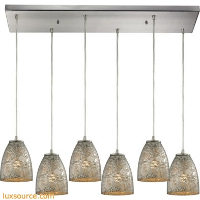Fissure 6 Light Pendant In Satin Nickel And Silver Glass 10465/6RC-SVF