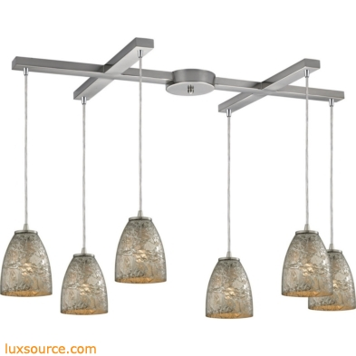 Fissure 6 Light Pendant In Satin Nickel And Silver Glass 10465/6SVF