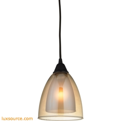 Layers 1 Light Pendant In Oil Rubbed Bronze And Amber Teak Glass 10474/1