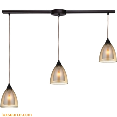 Layers 3 Light Pendant In Oil Rubbed Bronze And Amber Teak Glass 10474/3L