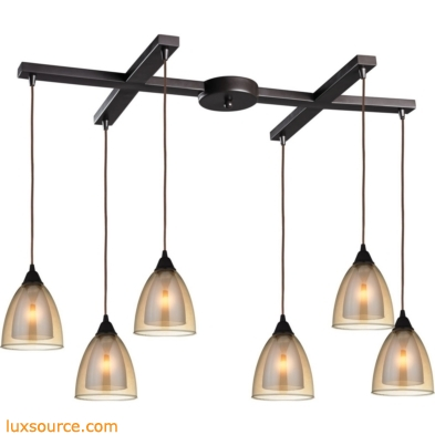 Layers 6 Light Pendant In Oil Rubbed Bronze And Amber Teak Glass 10474/6