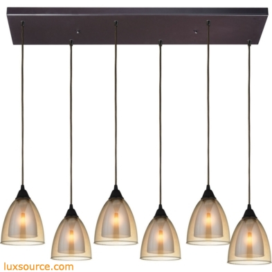 Layers 6 Light Pendant In Oil Rubbed Bronze And Amber Teak Glass 10474/6RC
