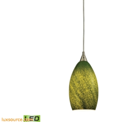 Earth 1 Light LED Pendant In Satin Nickel And Grass Green Glass 10510/1GRS-LED