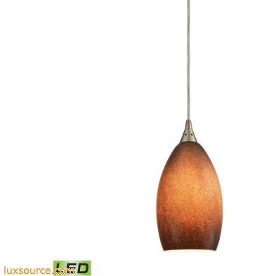Earth 1 Light LED Pendant In Satin Nickel And Sand Glass 10510/1SND-LED
