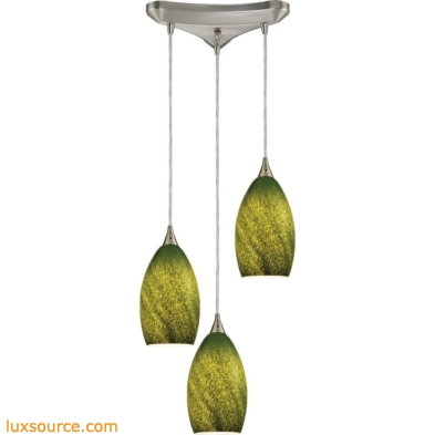Earth 3 Light Pendant In Satin Nickel And Grass Green Glass 10510/3GRS