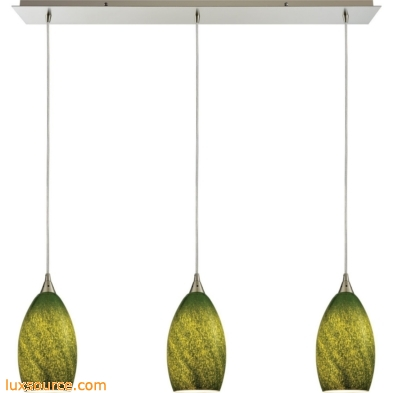 Earth 3 Light Pendant In Satin Nickel And Grass Green Glass 10510/3LP-GRS