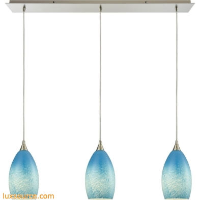 Earth 3 Light Pendant In Satin Nickel And Sky Blue Glass 10510/3LP-SKY