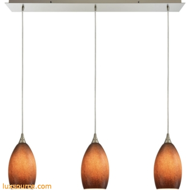 Earth 3 Light Pendant In Satin Nickel And Sand Glass 10510/3LP-SND