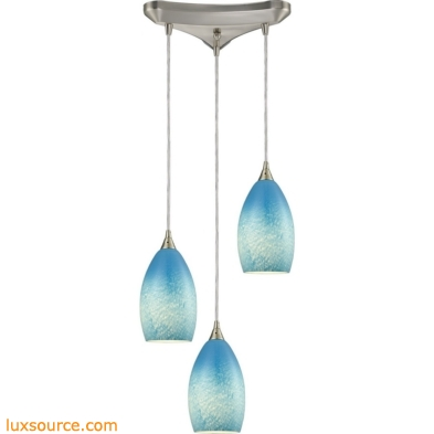 Earth 3 Light Pendant In Satin Nickel And Sky Blue Glass 10510/3SKY