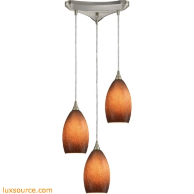 Earth 3 Light Pendant In Satin Nickel And Sand Glass 10510/3SND