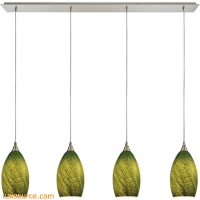 Earth 4 Light Pendant In Satin Nickel And Grass Green Glass 10510/4LP-GRS