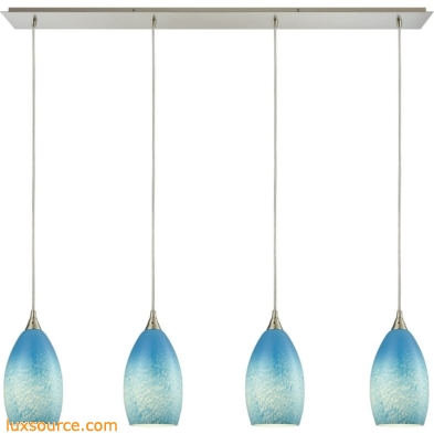 Earth 4 Light Pendant In Satin Nickel And Sky Blue Glass 10510/4LP-SKY