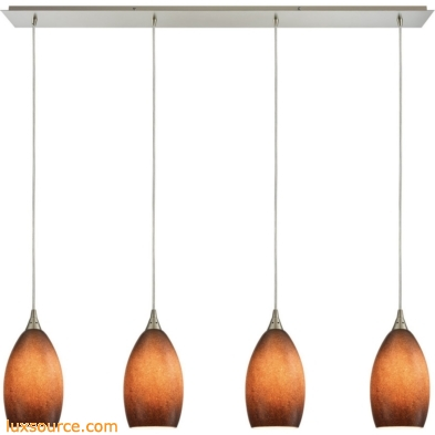 Earth 4 Light Pendant In Satin Nickel And Sand Glass 10510/4LP-SND