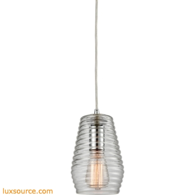 Ribbed Glass 1 Light Pendant In Polished Chrome 10523/1