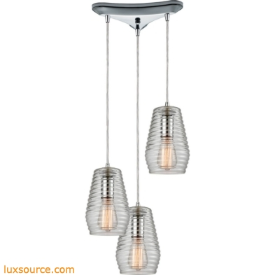 Ribbed Glass 3 Light Pendant In Polished Chrome 10523/3