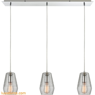 Ribbed Glass 3 Light Pendant In Polished Chrome 10523/3LP