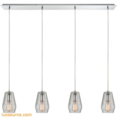 Ribbed Glass 4 Light Pendant In Polished Chrome 10523/4LP