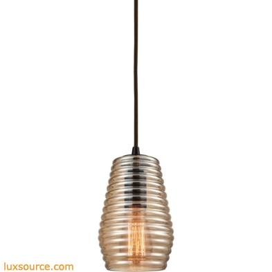 Ribbed Glass 1 Light Pendant In Oil Rubbed Bronze 10533/1