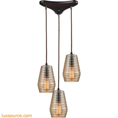 Ribbed Glass 3 Light Pendant In Oil Rubbed Bronze 10533/3