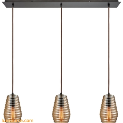 Ribbed Glass 3 Light Pendant In Oil Rubbed Bronze 10533/3LP