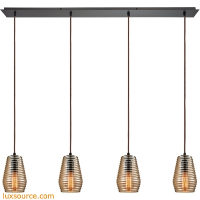 Ribbed Glass 4 Light Pendant In Oil Rubbed Bronze 10533/4LP