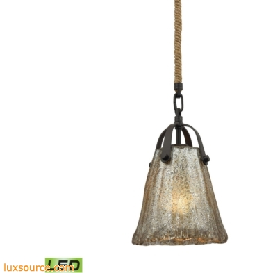 Hand Formed Glass 1 Light LED Pendant In Oil Rubbed Bronze 10631/1-LED