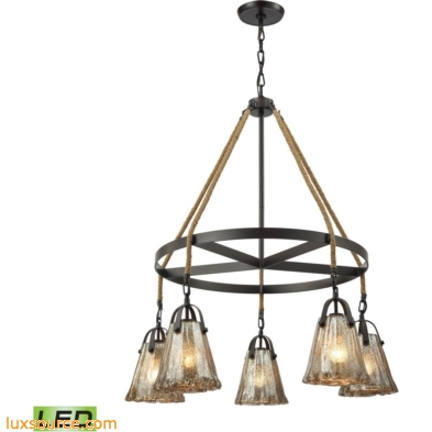Hand Formed Glass 5 Light LED Chandelier In Oil Rubbed Bronze 10631/5CH-LED
