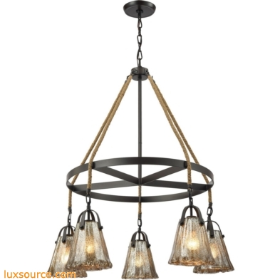 Hand Formed Glass 5 Light Chandelier In Oil Rubbed Bronze 10631/5CH