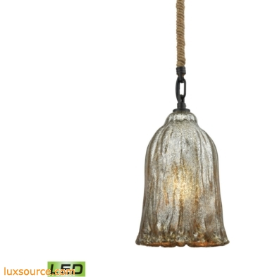 Hand Formed Glass 1 Light LED Pendant In Oil Rubbed Bronze 10641/1-LED