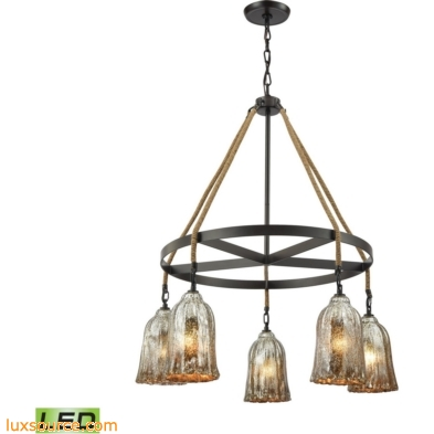 Hand Formed Glass 5 Light LED Chandelier In Oil Rubbed Bronze 10641/5CH-LED