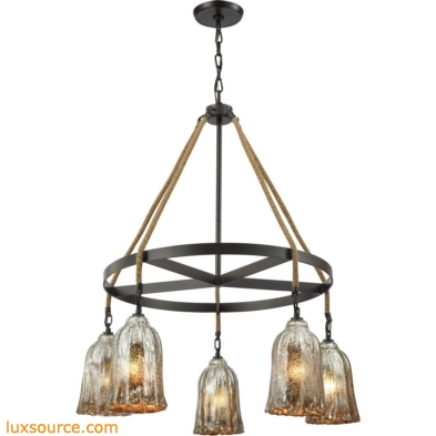 Hand Formed Glass 5 Light Chandelier In Oil Rubbed Bronze 10641/5CH