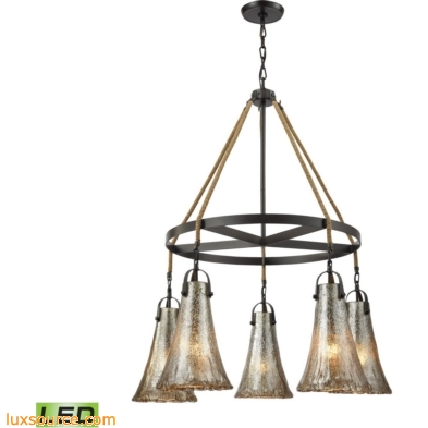 Hand Formed Glass 5 Light LED Chandelier In Oil Rubbed Bronze 10651/5CH-LED
