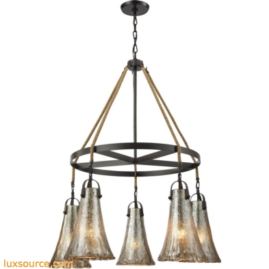 Hand Formed Glass 5 Light Chandelier In Oil Rubbed Bronze 10651/5CH