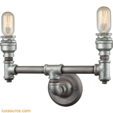 Cast Iron Pipe 2 Light Vanity In Weathered Zinc 10683/2