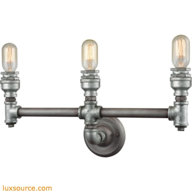 Cast Iron Pipe 3 Light Vanity In Weathered Zinc 10684/3