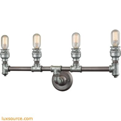Cast Iron Pipe 4 Light Vanity In Weathered Zinc 10685/4