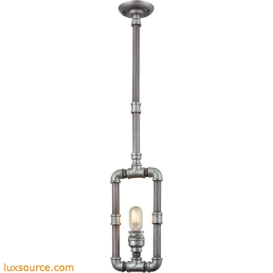 Cast Iron Pipe 1 Light Pendant In Weathered Zinc 10687/1