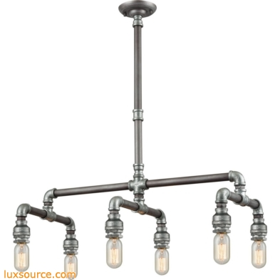 Cast Iron Pipe 6 Light Chandelier In Weathered Zinc 10691/6