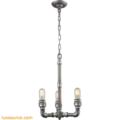 Cast Iron Pipe 3 Light Chandelier In Weathered Zinc 10692/3