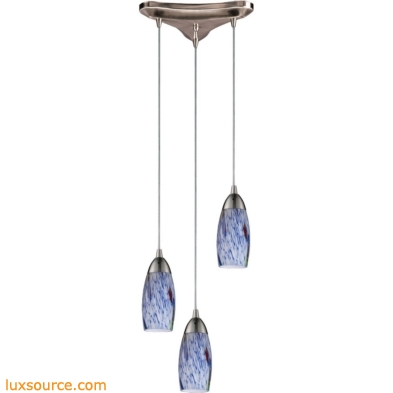 Milan 3 Light Pendant In Satin Nickel And Starburst Blue Glass 110-3BL