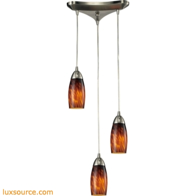 Milan 3 Light Pendant In Satin Nickel And Espresso Glass 110-3ES