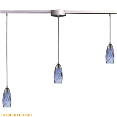 Milan 3 Light Pendant In Satin Nickel And Starburst Blue Glass 110-3L-BL