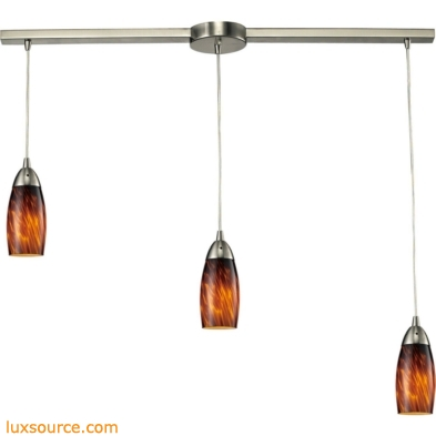 Milan 3 Light Pendant In Satin Nickel And Espresso Glass 110-3L-ES