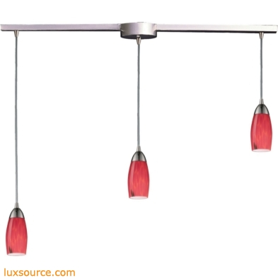 Milan 3 Light Pendant In Satin Nickel And Fire Red Glass 110-3L-FR