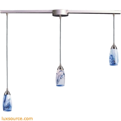 Milan 3 Light Pendant In Satin Nickel And Mountain Glass 110-3L-MT