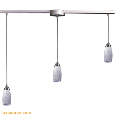 Milan 3 Light Pendant In Satin Nickel And Snow White Glass 110-3L-SW