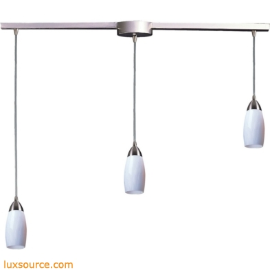 Milan 3 Light Pendant In Satin Nickel And Simply White Glass 110-3L-WH